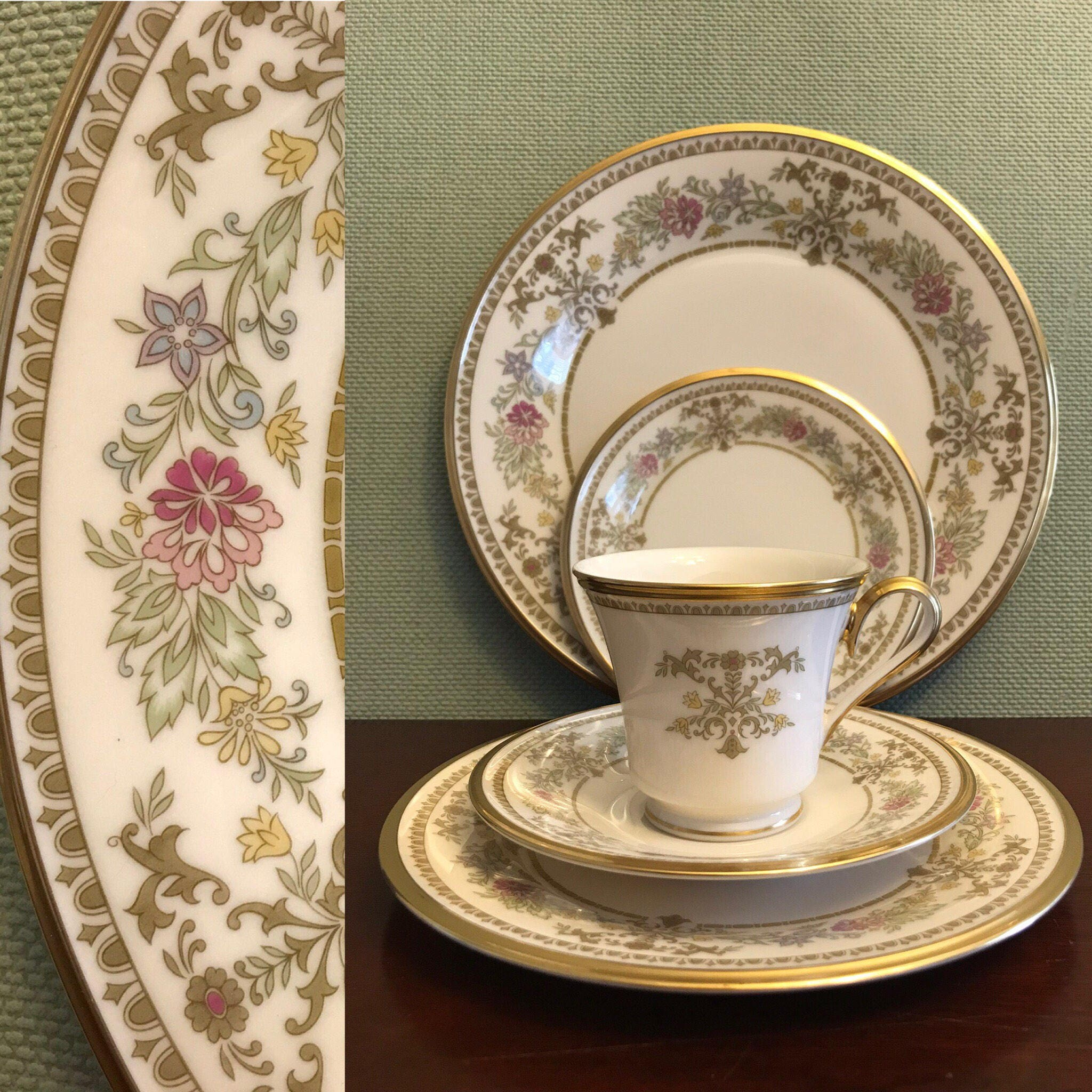 Lenox Castle Garden China 5 pc Place setting Luxury Dinnerware Very Good Condition Wedding Gift Replacement Lenox Holiday Dinnerware & Lenox Castle Garden China 5 pc Place setting Luxury Dinnerware ...