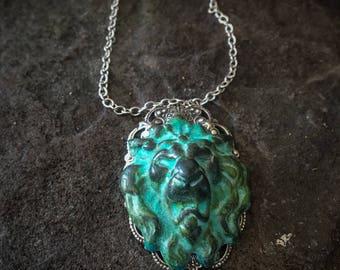 Lion Necklace, Lion Head Necklace, Lions Head Necklace, Lion Door Knocker, Viking Jewelry, Viking Necklace, Medieval Dress