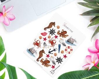 Seaside Stickerset-Watercolor sticker-pretty planning-scrapbooking-bullet journaling