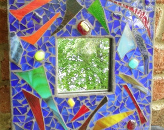 Stained Glass Mosaic Mirror Contemporary Style