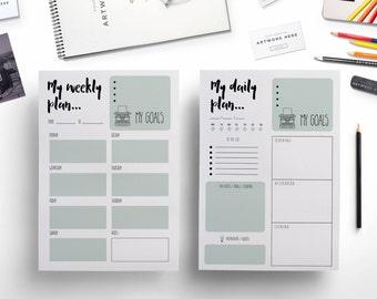 Elegant printable weekly planner + daily planner / weekly printable/ daily printable / creative planner / planner template