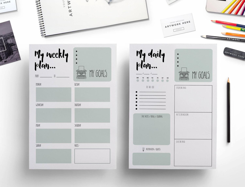 Elegant printable weekly planner daily planner / weekly