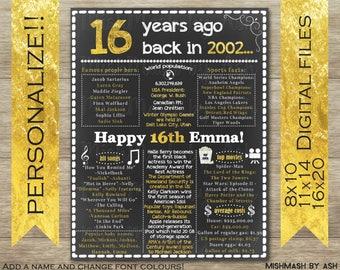 16th Birthday Sign, Personalized 16th Birthday Poster, Sweet 16th Birthday Decorations, Happy 16th Birthday, 16th Birthday Board, Sweet 16