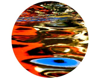 Colorful Reflection Photograph, Water, Blue, Orange, Home Decor, Yellow, Abstract, Circle, Round Image - 5x5 inch Print - Dreampool