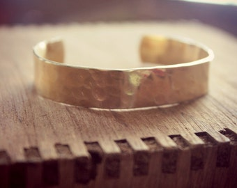 Hammered Brass Cuff Bracelet, Layering Gold Bracelet, Golden Brass Cuff Bracelet