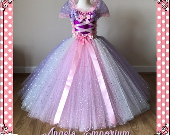 Rapunzel Inspired Tutu Dress - Pink and Lilac Sparkle Tulle Perfect for a Little Princess Birthday. Sparkly Party Dress Pageant Gala Ball