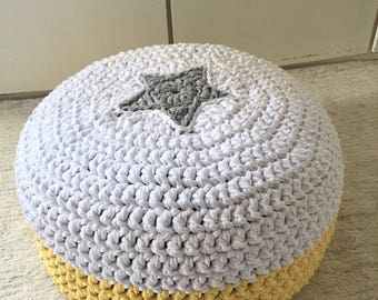Yellow Gray Knit Pouf, Round Ottoman, Footstool Nursery Pouffe, Star Floor Pillow Chair, Kids Seat