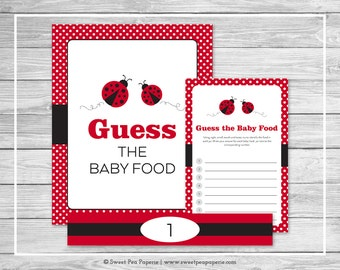 Ladybug Baby Shower Guess The Baby Food Game - Printable Baby Shower Guess Baby Food Game - Ladybug Baby Shower - Baby Food Game - SP140