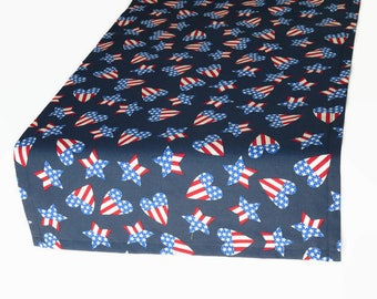 """14"""" x 36"""" Red, White & Blue Table Runner,  14"""" x 36"""" Patriotic Table Runner, 14"""" x 36"""" July 4th Table Runner, Ready to Ship"""
