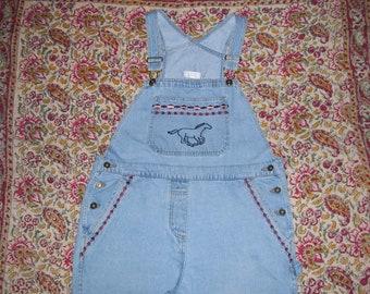 Bib Overalls Horse Shoe Embroidery Hippie Overalls Vintage 1980s 80s Denim Jeans Cotton Boho Summer Bibs Overall Women Adult L 38 x 30