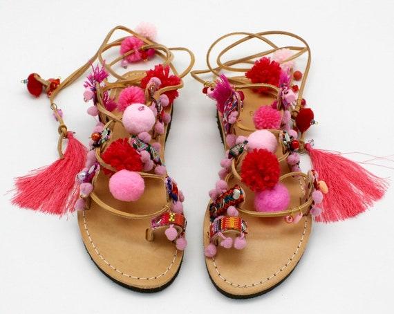 Pink sandalen Sandals createur pompom pink sandales Pink sandals pompom Boho Sandals Gladiator Sandals leder sandales Leather AOZf5wTq