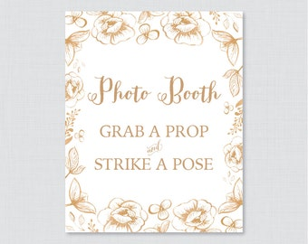 Gold Photo Booth Printable Sign - Gold Flower Bridal Shower Photo Booth Sign - White and Gold Wedding Shower Photo Station Sign - 0027