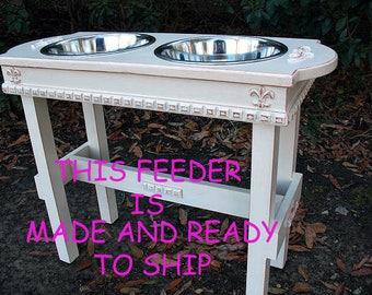 MADE & READY To SHIP Dog Bowl, Dog Feeder, Raised Dog Bowl, Pet Bowl Elevated Feeder, Raised Feeding Stand, Antique White, 2 Three Qt Bowls