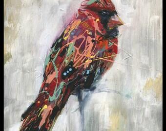 """Cardinal Art - Bird Art - Wall Art - Wall Decor - """"Ezra's Feathers"""" by Black Ink Art"""