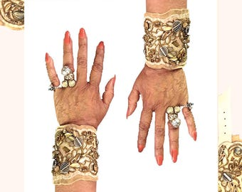 THE SHIELD BRACELET by Gilded-Mane : Leather & Lace Cuff in Cream and Gold