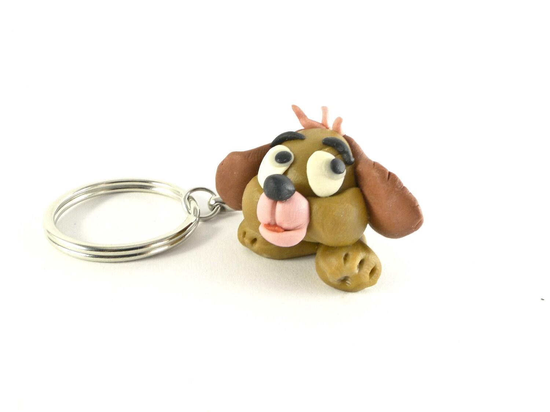 Schl sselanh nger mit lustigen hund polymer clay hunde - Fimo muttertagsgeschenk ...