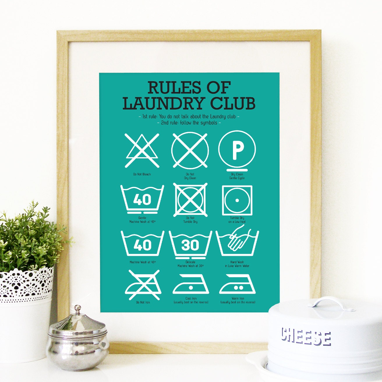 Kitchen laundry club poster art with laundry symbols explained zoom biocorpaavc