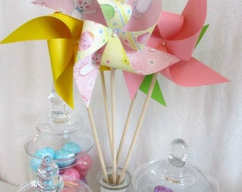 Easter Decoration Spring Decor Spinning Pinwheels Easter Favors Baby Shower Table Centerpiece Bunny Rabbit Spring Chicks Pastel Party Favors