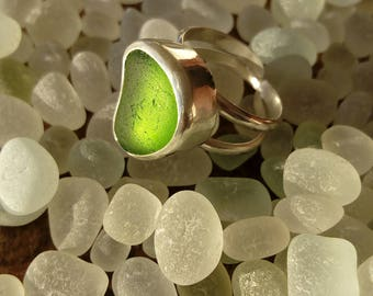 Large Lime Green Sea Glass Silver Ring Handcrafted