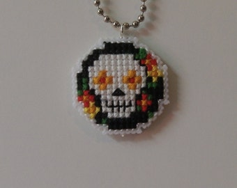 Cross Stitch Sugar Skull Medallion Necklace Black/Green