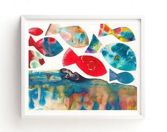 Printable Fish Art, Fish print, Printable art, Ocean Wall art, Kids Room Art, Nursery decor, Sea Creature Art