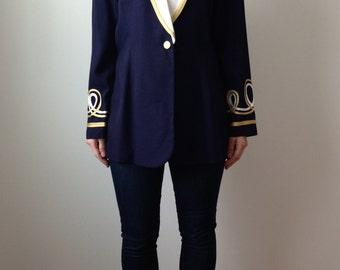 vintage Ahoy Sailor nautical one button blazer - 80s