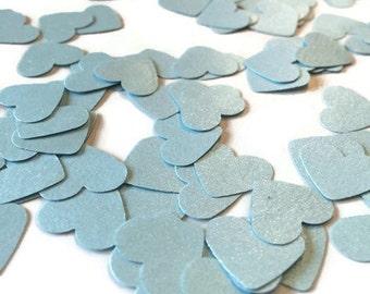 Satin Heart Confetti, Light blue shimmer hearts, wedding decor, baby shower table sprinkle, invitations, heart die cuts, gender reveal, love