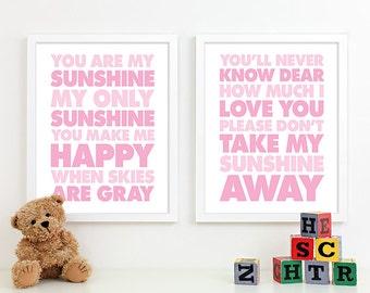 Baby Girl Nursery Decor Girls Nursery Art, Baby Girl Gifts, Girl Nursery Wall Quotes Lyrics You Are My Sunshine Nursery Subway Art - 11x14