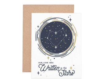 Written in the Stars Letterpress Greeting Card - Blank Card | Love Card | Valentine's Day | Anniversary Card | Greeting Cards