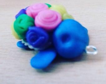 Polymer clay Kawaii rose turtle key charm