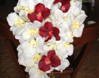 White and Red Cascading Orchid Bridal Bouquet