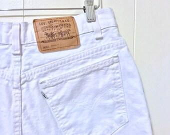 "1990's Bright White 950 Levi's Shorts // White Stitching and High Waist // 30"" Waist"