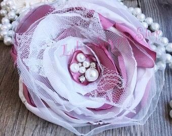 """Set of 2 Mauve & White 5"""" Satin Flowers - Satin Layered Fabric Flowers - Embellished Flower - Burned Edges Fabric Flowers - Hair accessories"""