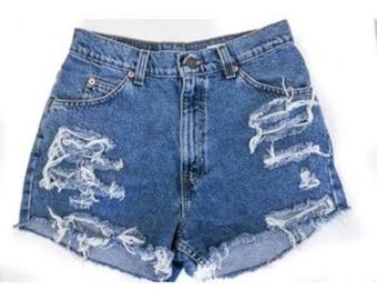 Distressed high waist shorts, high waisted shorts vintage shorts grunge  shorts