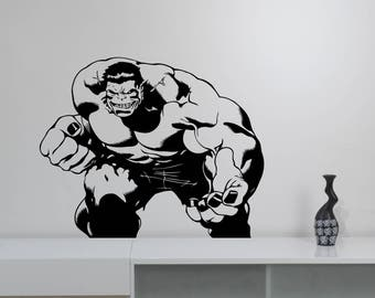 The Hulk Vinyl Wall Decal Removable Avengers Superhero Sticker Marvel Comics Art Decorations for Home Children's Room Comic Book Decor hlk3