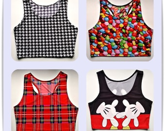 Womens sport top Black And White, Сolorful Balloons, Mouse, Red, pole dance, fitness сostume, active wear, crop top,sport top