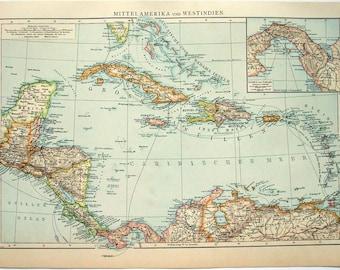 Central America & The Caribbean: Original 1896 Map by Velhagen and Klasing. Antique