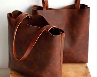Brown Leather Tote Bag - brown leather bag - Brown Leather Travel Bag - Leather Market bag - laptop bag - cross body tote- Sale