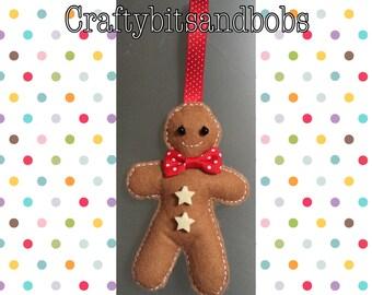Christmas tree decorations, Gingerbread man tree decoration, gingerbread man, xmas, felt, hanging deciration