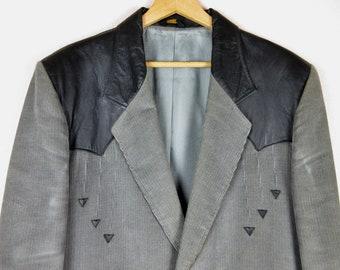 Vintage 1960s 1970s Mens Western Suit Jacket / Slate Gray Corduroy and Black Leather / Pioneer Wear, Albuquerque NM / 44 / Cowboy Wedding