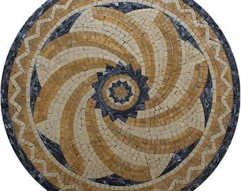 "Graphic Design Pattern Motif 25"" Round Pool Garden Marble Mosaic MD557"