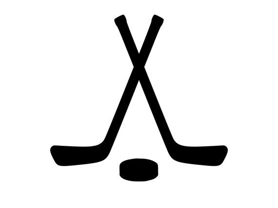 crossed hockey sticks hockey puck decal outdoor vinyl custom rh etsy com hockey sticks clipart free ice hockey sticks clipart