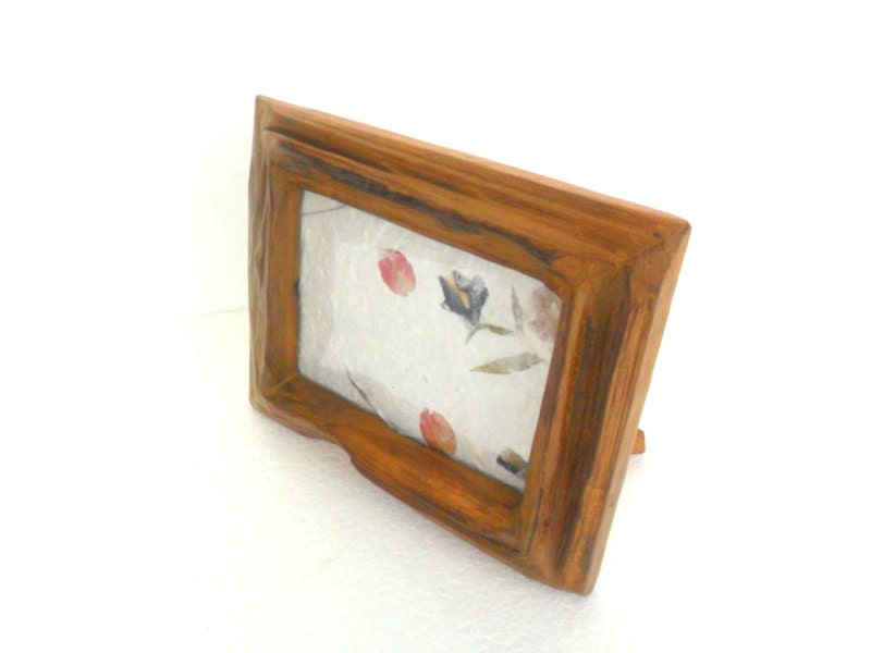 Foto madera teca rústica con pared de cristal colgante del marco ...