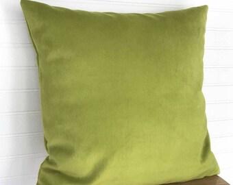 Green Velveteen Pillow Cover, Citron Green Throw Pillow, 18x18 Pillow Cover, Green Velvet Throw Pillow, Velvet Cushion, Velvet Throw Pillow