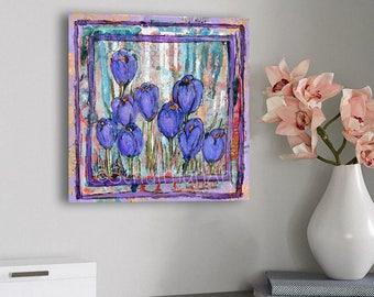 Original mixed media | modern Red crocus flower art | Spikes of Crocus | collage art | purple home decor