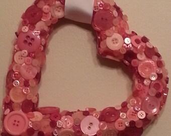 Heart Wearth - Handmade Pink Heart Button Wreath