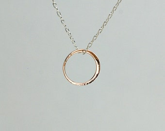 New Moon Pendant, Small Size in Solid 14k Rose Gold
