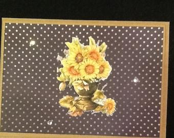 Daisy Bouquet Greeting Card-Daisy Bouquet Handmade GreetingCard