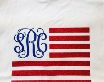 American Flag Monogrammed Tank Top