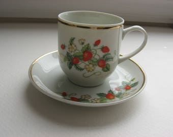 Collectible Vintage 1978 Avon 22k Gold Trimmed Strawberry Porcelain Demitasse Cup & Saucer//Replacements//Gift